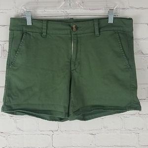 American Eagle Green Super Stretch Midi Shorts